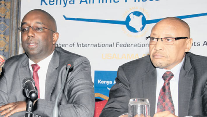 Kenya Airline Pilots Association (Kalpa) secretary-general Paul Gichinga (left) and chairman Njoroge Murimi