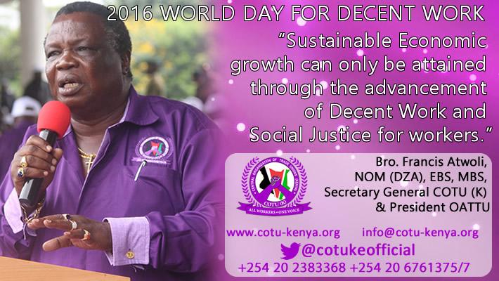 2016 World Day for Decent Work