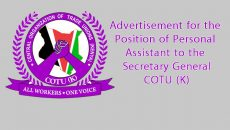 Advertisement for the Position of Personal Assistant to the Secretary General, COTU (K)