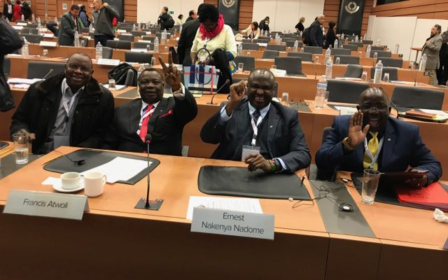 ITUC Deputy General Secretary Bro. Mamadou Diallo, COTU (K) SG Bro. FA, COTU (K) 1st ASG Bro. ENN and the Organization's International Advisor to the SG Bro. AB at the 17th Session of the ITUC General Council in Brussels, Belgium. The Session ends on Friday.